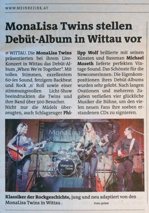 Concert review in Mein Bezirk about MonaLisa Twins show in Wittau