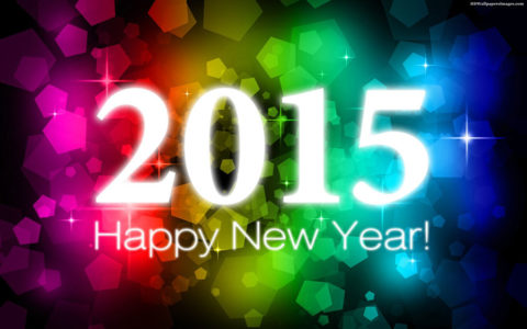 Happy New Year 2015, white letters on rainbow colored crystal shapes