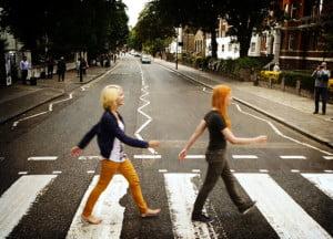 MonaLisa Twins walking across Abbey Road