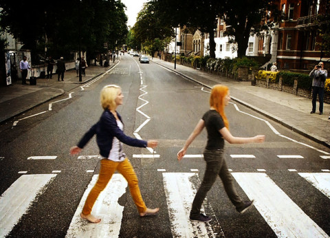 MonaLisa Twins walking across Abbey Road
