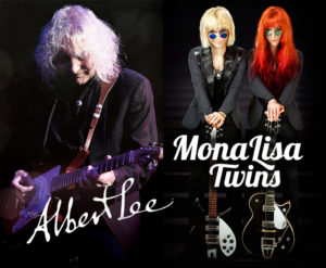 Double Photo of Albert Lee and the MonaLisa Twins with their respective logos