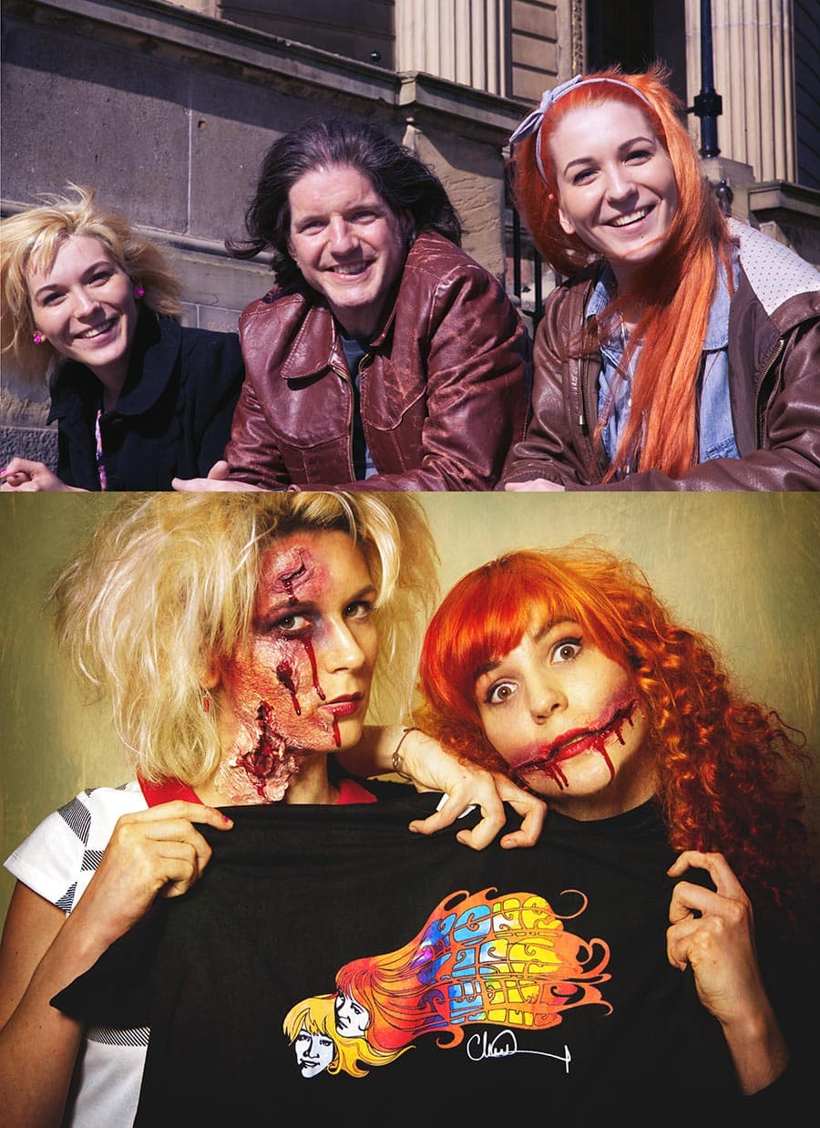 """MonaLisa Twins with Charlie Adlard, Designer of their new T-Shirt, best known for being the illustrator of """"The Walking Dead"""", """"Savage"""", """"The X-Files"""" and """"Batman""""."""