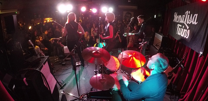MonaLisa Twins on Stage at the Half Moon, Putney, London, playing a showcase concert