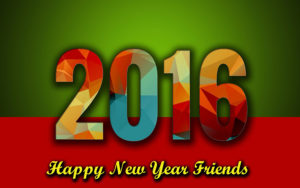 Happy New Year 2016 picture showing multi-colored letters on green and red background