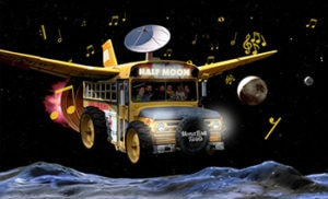 Spacebus, photomontage of a yellow schoolbus with wings and sat receiver flying through space