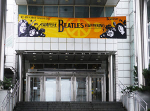 Entrance to Tampere Hall, Finland, decorated with Beatles Happening banner.