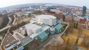 Aerial view of Tampere Hall and neighbourhood, Finland, shot with a drone.