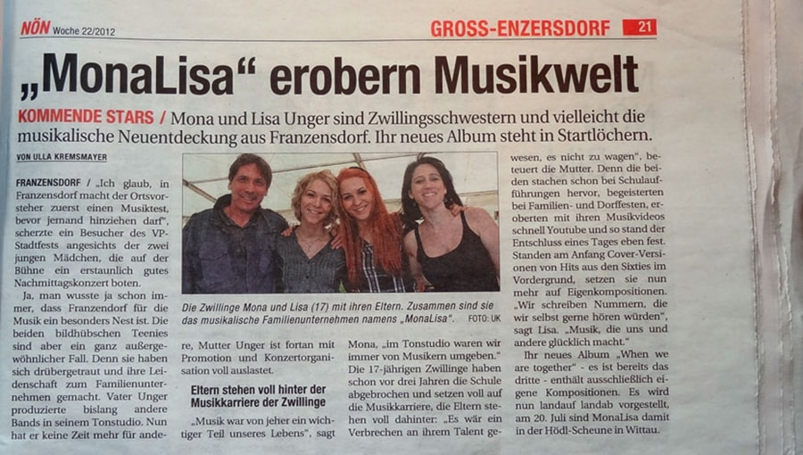 """MonaLisa take over the music world"" in NÖN newspaper"