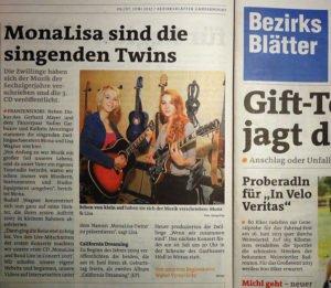MonaLisa Twins in the Bezirksblätter newspaper