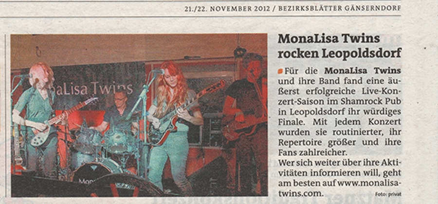 Bezirksblätter Article about MonaLisa Twins gig at the Shamrock pub in Leopoldsdorf