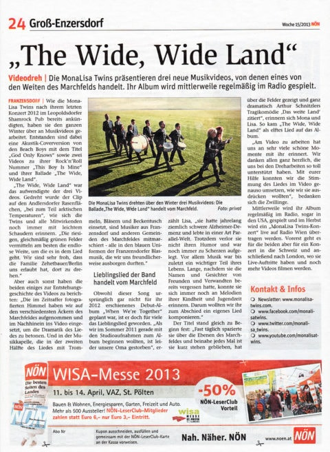 "NÖN newspaper article about ""The Wide, WIde Land"" by MonaLisa Twins"
