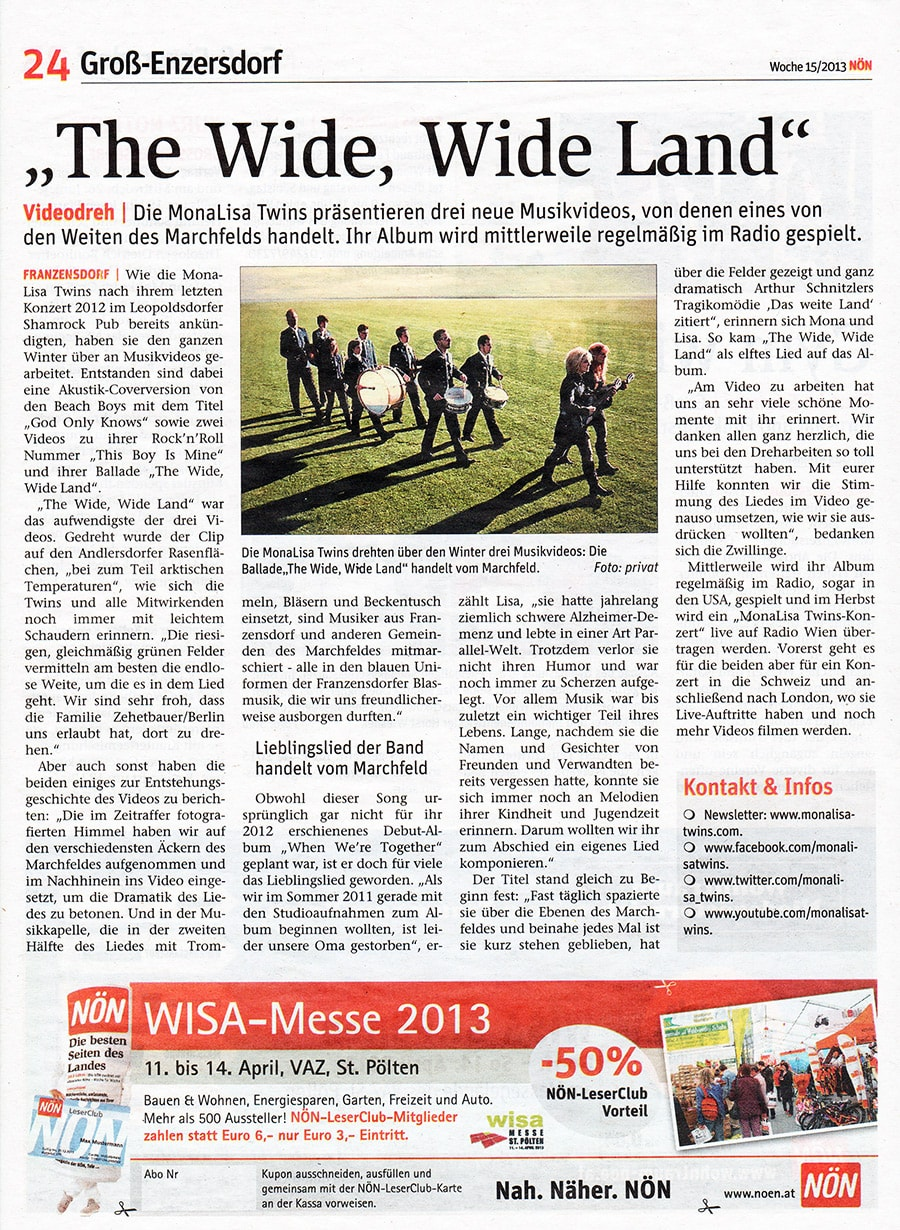 """NÖN newspaper article about """"The Wide, WIde Land"""" by MonaLisa Twins"""