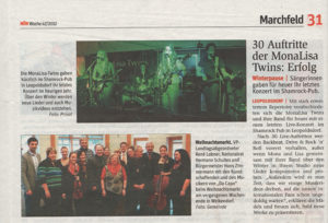 Noen Article about MonaLisa Twins concert at Shamrock Pub