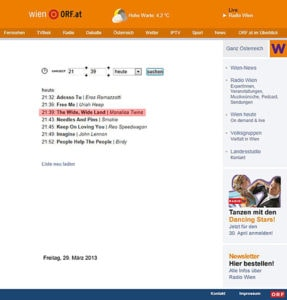 """A screenshot of """"The Wide, Wide Land"""" being played on Austrian Radio Wien"""