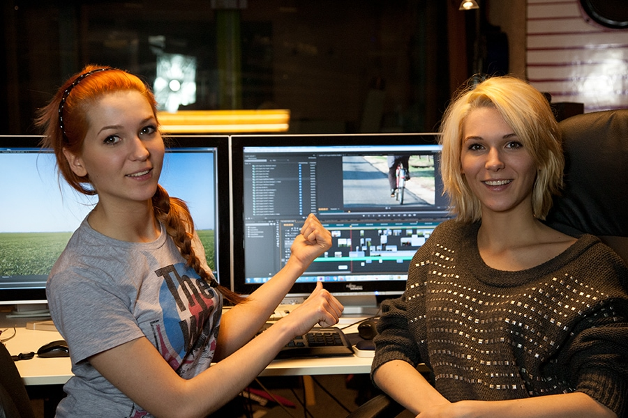 "MonaLisa Twins working on video cutting ""The Wide, Wide Land"" at their recording studio."