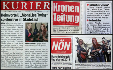 NÖN, Kurier and Kronen Zeitung write Wittau Live Concert announcements