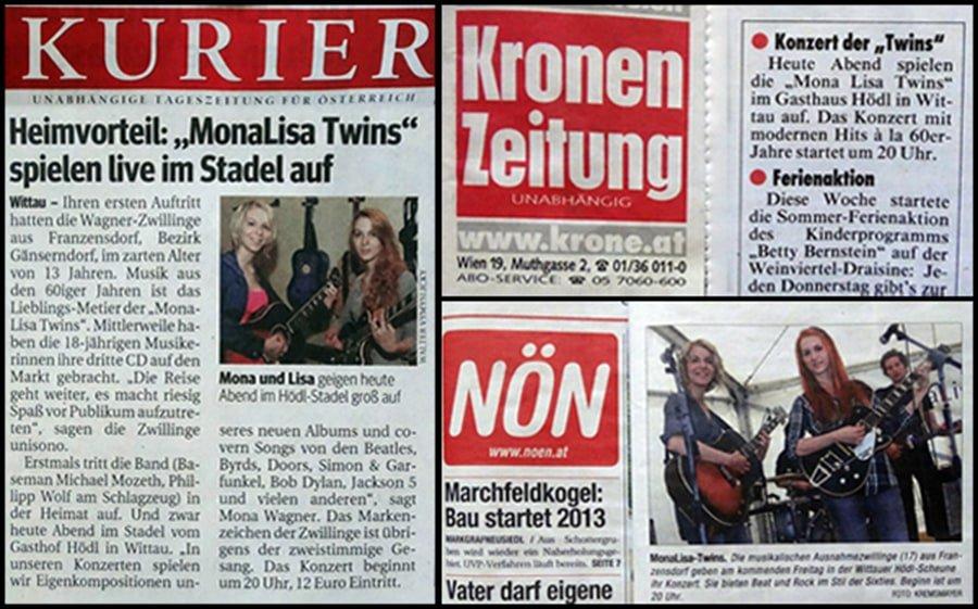 NÖN, Kurier and Kronen Zeitung write Wittau Live Concert announcements