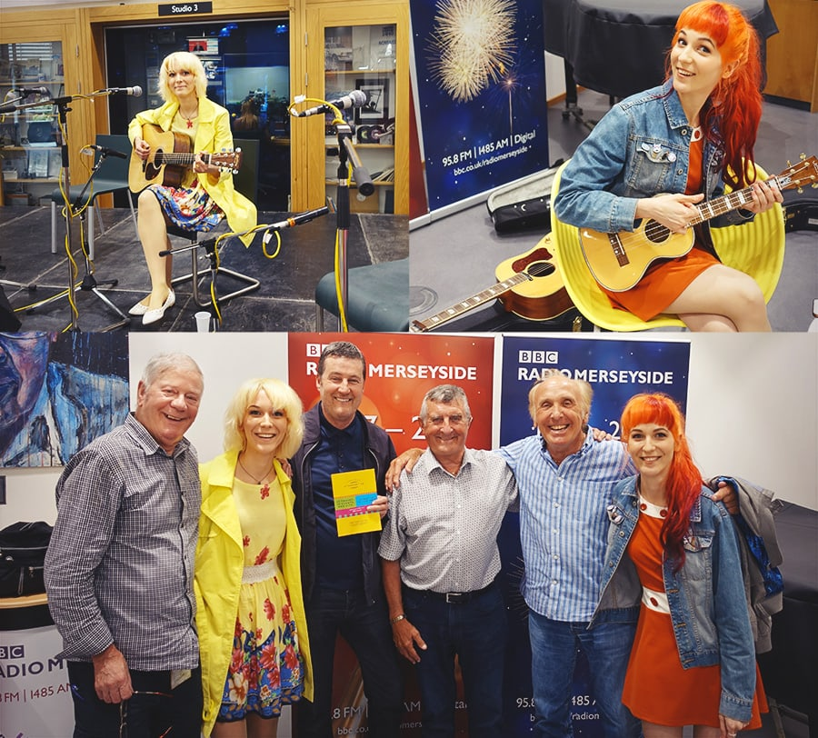 MonaLisa Twins with Billy Butler at BBC Radio Merseyside to celebrate 50 years of Sgt. Pepper