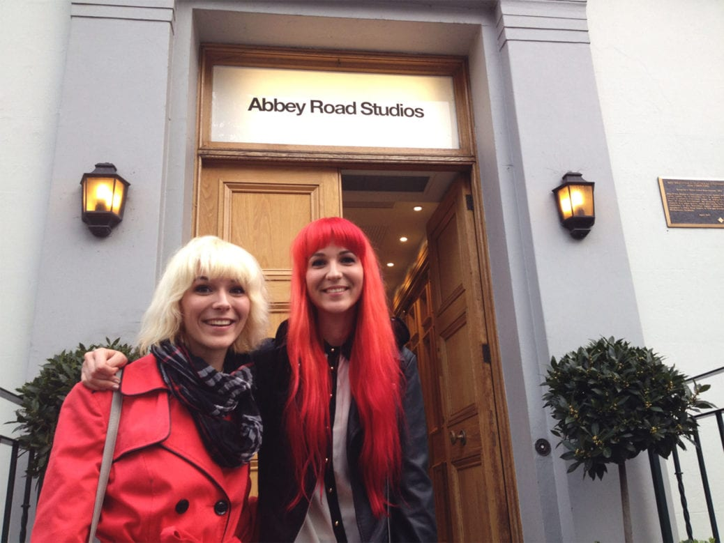 MonaLisa Twins in front of Abbey Road Studios entrance