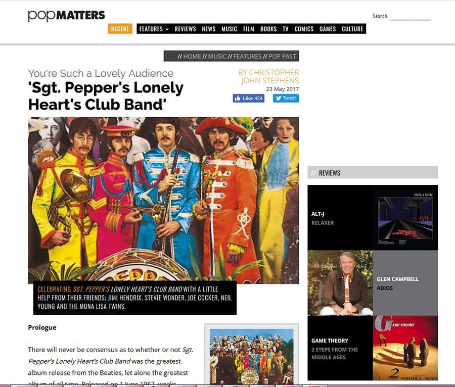 "PopMatters article including the MonaLIsa Twins to celebrate the 50th anniversary of ""Sgt. Pepper's Lovely Heart Club Band""."